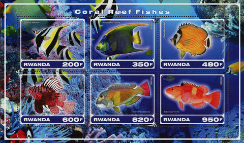 Coral Reef Fish Marine Fauna Souvenir Sheet of 6 Stamps Mint NH