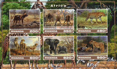 Africa Wild Animal Elephant Panther Souvenir Sheet of 6 Stamps Mint NH