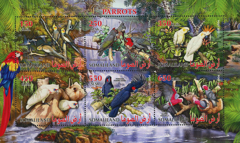 Parrot Bird Waterfall Souvenir Sheet of 6 Stamps Mint NH