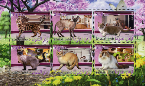 Somalia Cat Domestic Animal Flower Tree Souvenir Sheet of 6 Stamps Mint NH