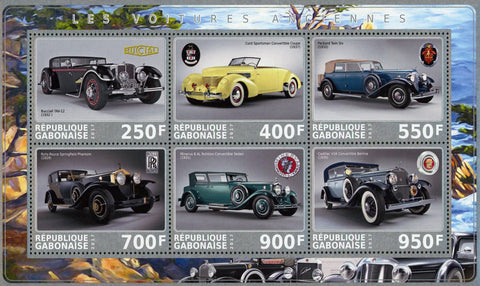 Gabon Old Car Antique Transportation Souvenir Sheet of 6 Stamps Mint NH