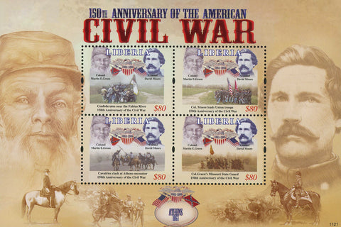 Liberia USA Civil War Martin E. Green David Moore Sov. Sheet of 4 Stamps Mint NH
