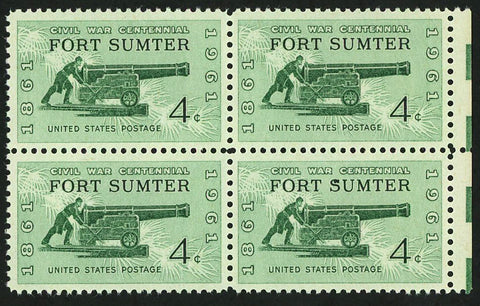 USA American Civil War Centennial Fort Summer Block of 4 Stamps Mint NH
