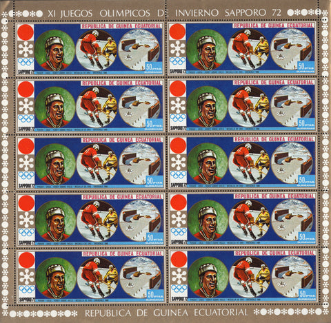 Olympic Winter Games Ice Hockey Souvenir Sheet of 10 Stamps MNH