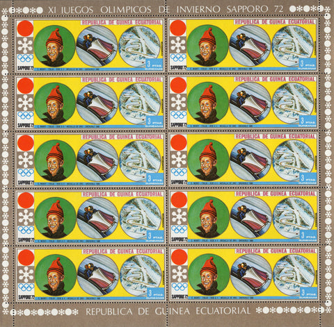 Equatorial Guinea Olympic Winter Games Bobsleigh Sport Sov. Sheet of 10 Stamps M