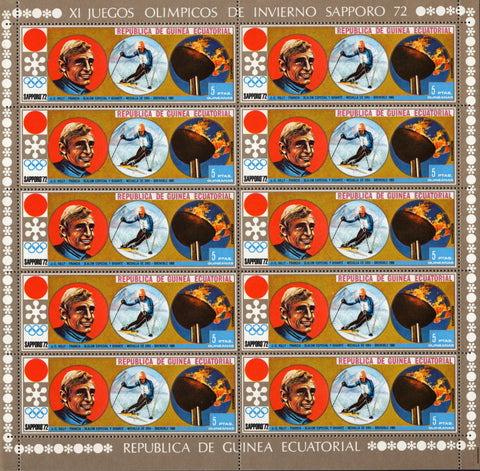 Equatoria lGuinea Olympic Winter Games Sport Sv. Sheet 10 Stamp 1972 MNH