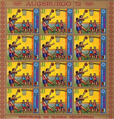 Equatorial Guinea Olympic Games Basketball Sport Sov. Sheet of 12 Stamps MNH