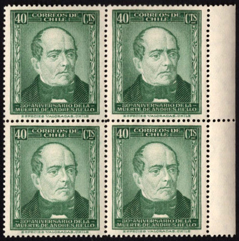 Chile Stamp Andres Bello Death Anniversary Historical Figure Block of 4 MNH