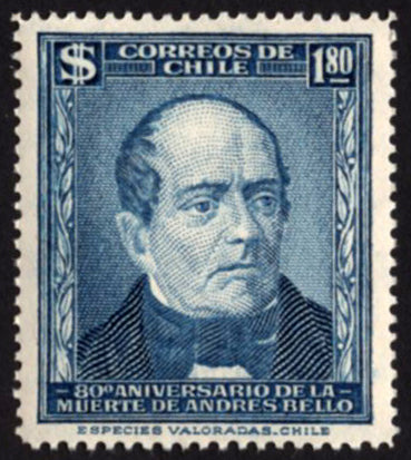 Chile Stamp Andres Bello Death Anniversary Historical Figure Individual MNH