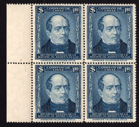 Chile Stamp Andres Bello Death Anniversary Historical Figure Block of 4 Blue MNH