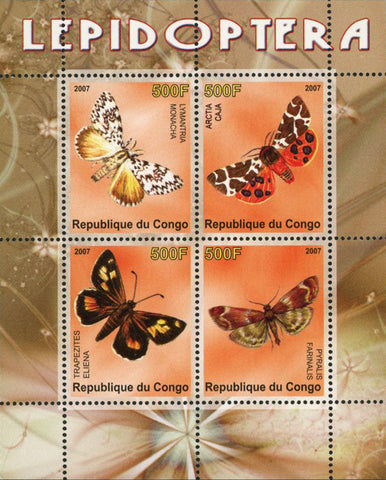 Congo Butterfly Pyralis Arctia Orchid Souvenir Sheet of 4 Stamps Mint NH