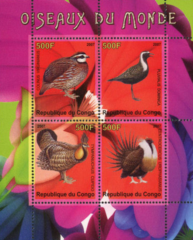 Congo Bird of the World Exotic Souvenir Sheet of 4 Stamps Mint NH