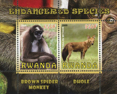 Endangered Species Spider Monkey Wild Animal Sov. Sheet of 2 Stamps Mint NH