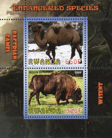 Endangered Species Camel Wisent Wild Animal Sov. Sheet of 2 Stamps Mint NH