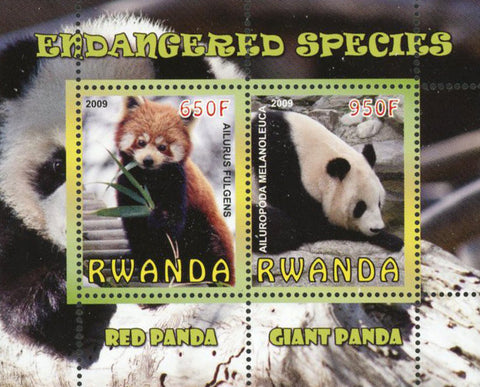 Endangered Species Panda Bear Wild Animal Sov. Sheet of 2 Stamps Mint NH