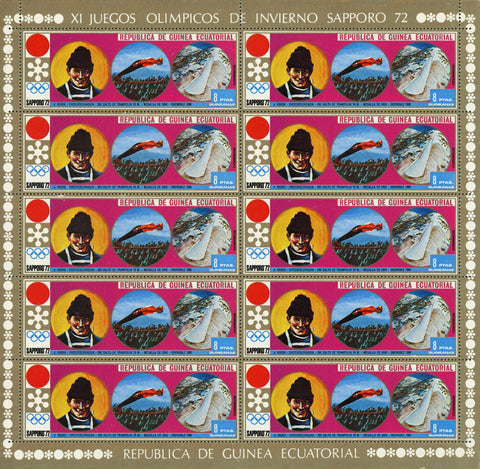 Equatorial Guinea Olympic Winter Games Ski Jump Sport Sov. Sheet of 10 Stamps MN