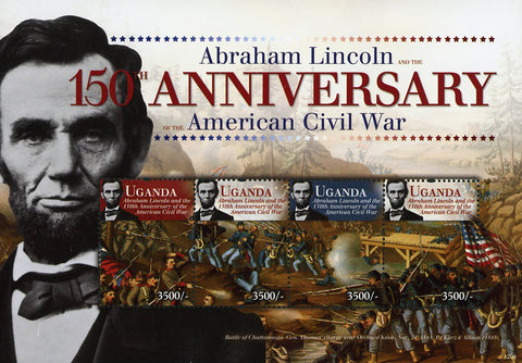 Uganda Abraham Lincoln American Civil War USA Souvenir Sheet of 4 Stamps Mint NH