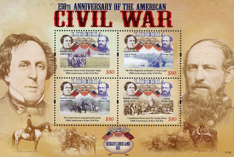 Liberia USA Civil War John B. Floyd Erastus Tyler Sov. Sheet of 4 Stamps Mint NH