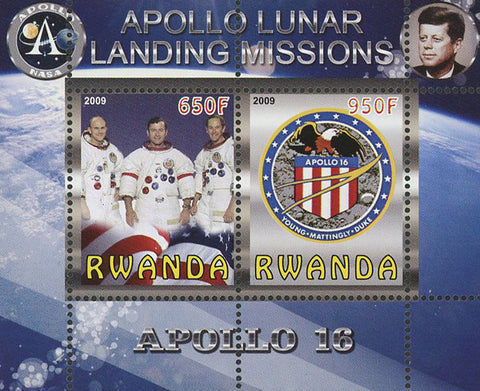 Apollo 16 Lunar Landing Missions Souvenir Sheet of 2 Stamps Mint NH
