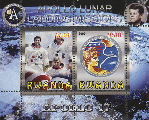 Apollo 17 Lunar Landing Missions Souvenir Sheet of 2 Stamps Mint NH
