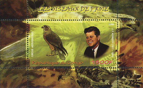Congo Birds of Prey John F. Kennedy Souvenir Sheet of 2 Stamps Mint NH
