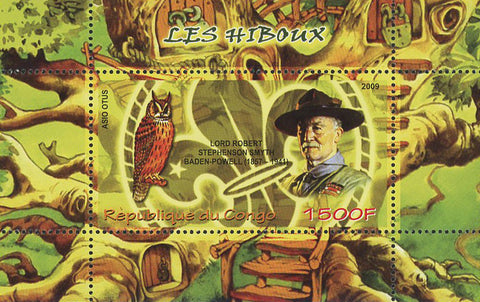 Congo Bird Owl Lord Robert Baden Powell Souvenir Sheet of 2 Stamps Mint NH