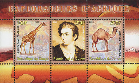 Congo Africa Explorer Giraffe Camel Wild Animal Souvenir Sheet of 3 Stamps Mint