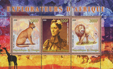 Congo Africa Explorer Lion Feline Wild Animal Souvenir Sheet of 3 Stamps Mint NH