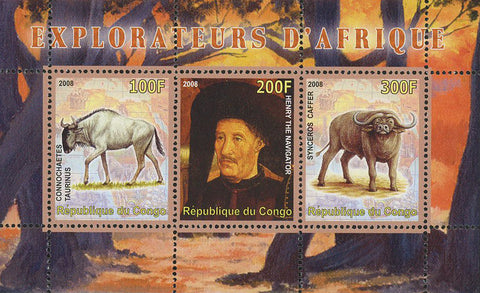 Congo Africa Explorer Ox Wild Animal Souvenir Sheet of 3 Stamps Mint NH