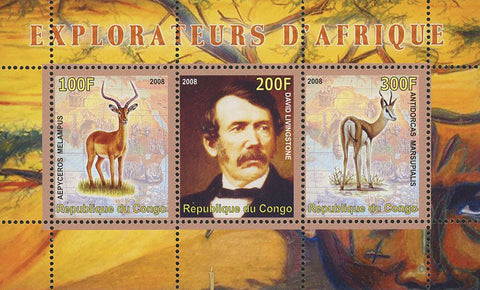 Congo Africa Explorer Deer Wild Animal Souvenir Sheet of 3 Stamps Mint NH