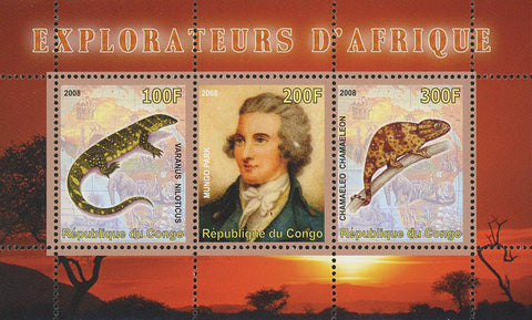 Congo Africa Explorer Camaleon Reptil Wild Animal Souvenir Sheet of 3 Stamps Min
