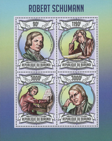 Robert Schumann Musician Pianist Music Souvenir Sheet of 4 Stamps Mint NH
