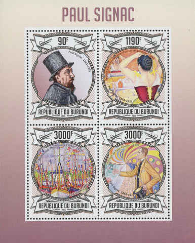 Paul Signac Painter Art Famous Souvenir Sheet of 4 Stamps Mint NH