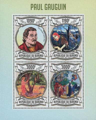 Paul Gauguin Painter Art Famous Souvenir Sheet of 4 Stamps Mint NH