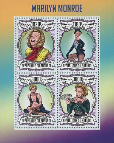 Marilyn Monroe Historical Figure Famous Souvenir Sheet of 4 Stamps Mint NH