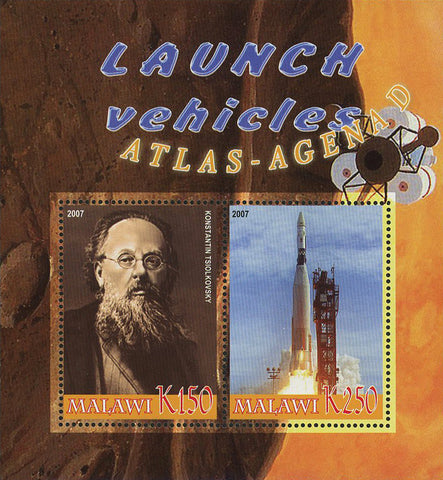 Malawi Launch Vehicles Atlas Agena D Souvenir Sheet of 2 Stamps Mint NH