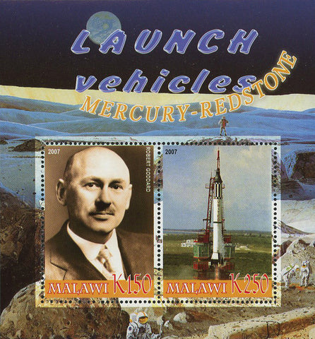 Malawi Launch Vehicles Mercury Redstone Souvenir Sheet of 2 Stamps Mint NH