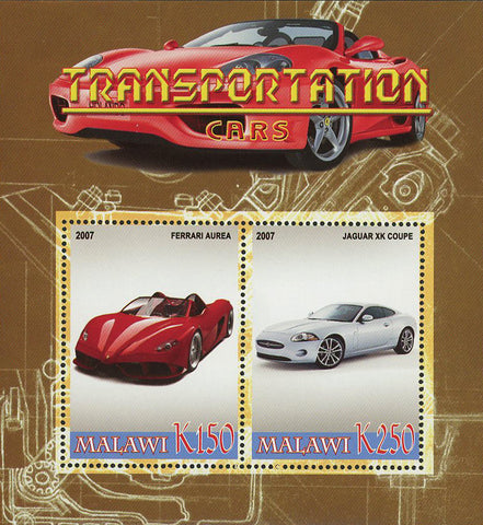 Malawi Transportation Car Ferrari Souvenir Sheet of 2 Stamps Mint NH