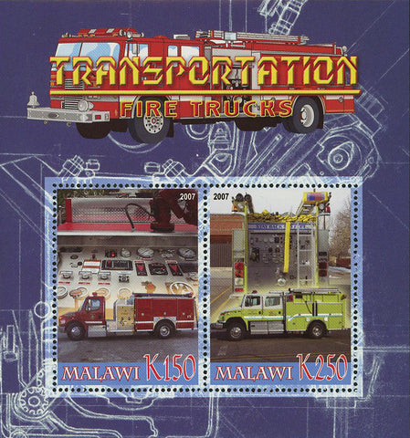 Malawi Transportation Fire Trucks Souvenir Sheet of 2 Stamps Mint NH