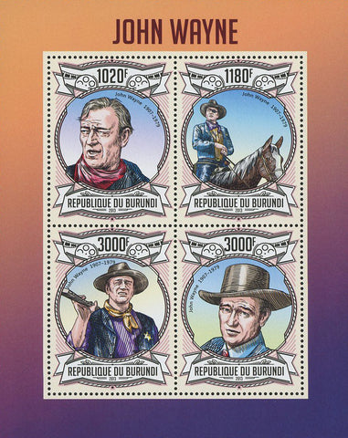 John Wayne Cowboy Famous Celebrity Souvenir Sheet of 4 Stamps Mint NH