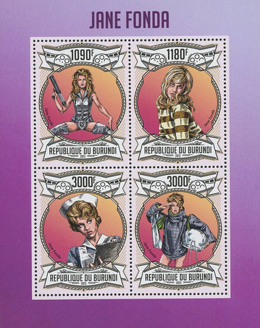 Jane Fonda Actress Famous Celebrity Souvenir Sheet of 4 Stamps Mint NH