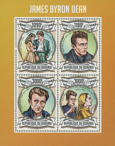 James Byron Dean Actor Famous Celebrity Souvenir Sheet of 4 Stamps Mint NH
