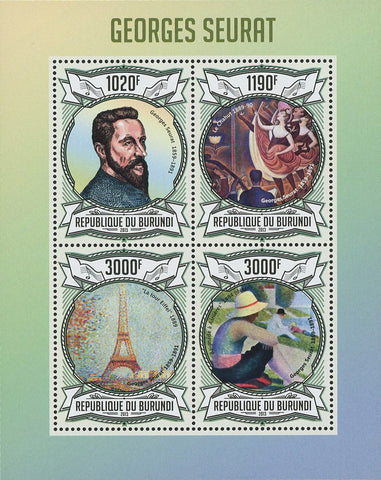 Georges Seurat Painter Famous Souvenir Sheet of 4 Stamps Mint NH