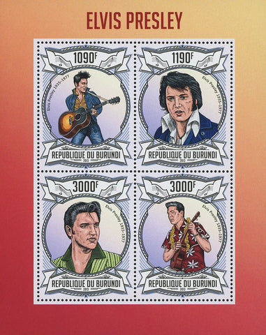 Elvis Presley Singer Celebrity Famous Souvenir Sheet of 4 Stamps Mint NH