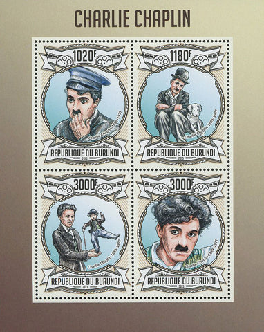 Charlie Chaplin Actor Filmmaker Famous Souvenir Sheet of 4 Stamps Mint N