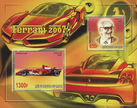 Enzo Ferrari Car Automobile Ferrari 2007 Souvenir Sheet of 2 Stamps Mint NH