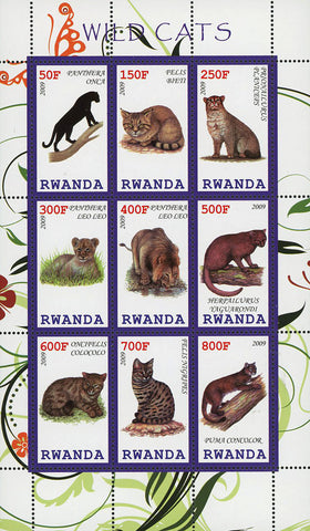 Wild Cat Souvenir Sheet of 9 Stamps Mint NH