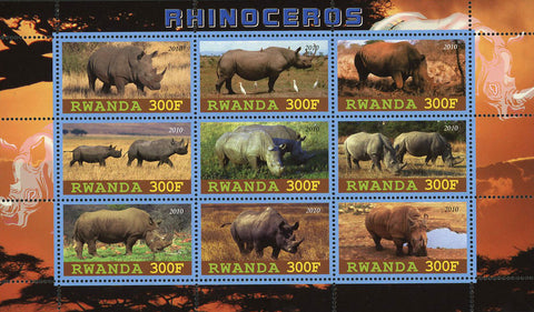 Rhinoceros Wild Animal Souvenir Sheet of 9 Stamps Mint NH