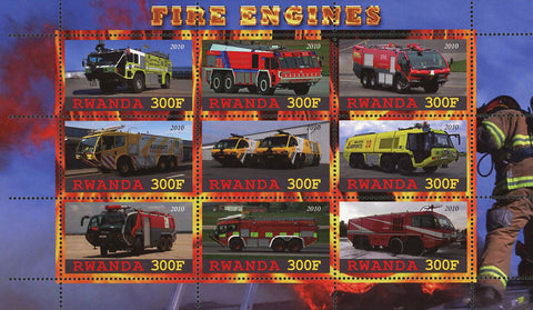 Fire Engines Truck Souvenir Sheet of 9 Stamps Mint NH