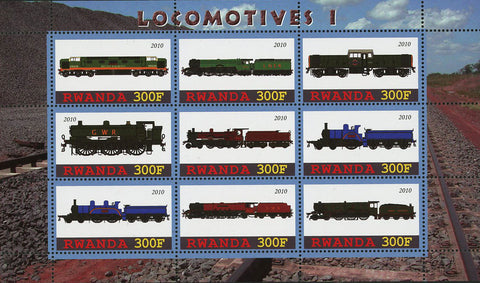 Locomotive Train Transportation Souvenir Sheet of 9 Stamps Mint NH